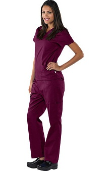 Scrubs new: Safety Weave&trade Antimicrobial Basics by AFS Women's Scrub Set With Mock Wrap Top And Cargo Pant