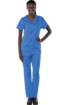 Safety Weave™ Antimicrobial Basics by AFS Women's Scrub Set with Mock Wrap Top And Elastic Waist Pant