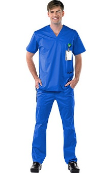 Safety Weave™ Antimicrobial Stretch Classics by AFS Men's Scrub Set with V-Neck Top And Cargo Pant