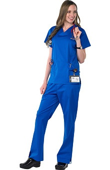 Scrubs new: Safety Weave™ Antimicrobial Stretch Classics by AFS Women's Scrub Set With Princess Seam Top And Flare Leg Pant
