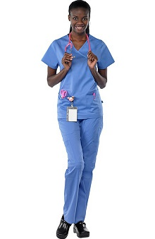 Scrubs new: Safety Weave™ Antimicrobial Stretch Classics by AFS Women's Scrub Set With Mock Wrap Top And Cargo Pant