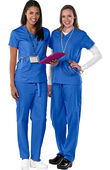 Clearance AFS Women's Antimicrobial Scrub Set with V-Neck 2 Pocket Top and Drawstring Pants