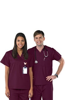 Scrubs new: Safety Weave™ Antimicrobial Basics by AFS Unisex V-Neck Scrub Top