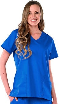 Safety Weave™ Antimicrobial Basics by AFS Women's V-Neck 4 Pocket Scrub Top