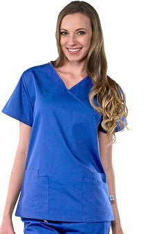Scrubs new: Safety Weave™ Antimicrobial Basics by AFS Women's Mock Wrap Scrub Top