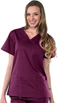 Clearance Safety Weave™ Antimicrobial Basics by AFS Women's Mock Wrap Scrub Top