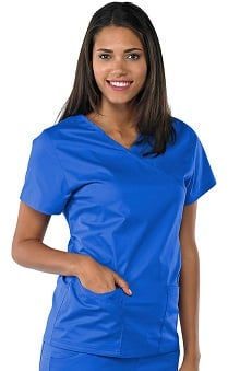 Scrubs new: Safety Weave™ Antimicrobial Stretch Classics by AFS Women's Mock Wrap Scrub Top