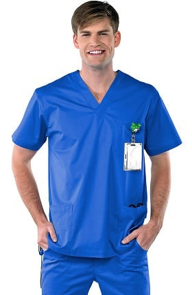 Clearance Safety Weave™ Antimicrobial Stretch Classics by AFS Men's V-Neck Scrub Top
