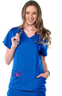 Safety Weave™ Antimicrobial Stretch Luxe by AFS Women's Mock Wrap Scrub Top