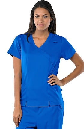 Clearance Safety Weave™ Antimicrobial Stretch Luxe by AFS Women's Mock Wrap 2 Pocket Scrub Top