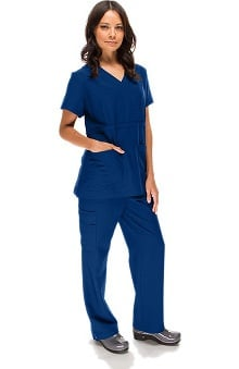 allheart Stretch Luxe Women's Mock Wrap And Straight Leg Scrub Set