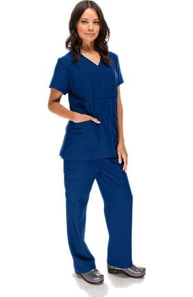 Stretch Luxe by allheart Women's Mock Wrap & Straight Leg Pant Scrub Set