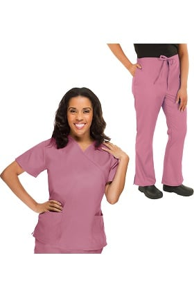 Classics by allheart Women's Mock Wrap Scrub Top & Flare Leg Scrub Pant Set