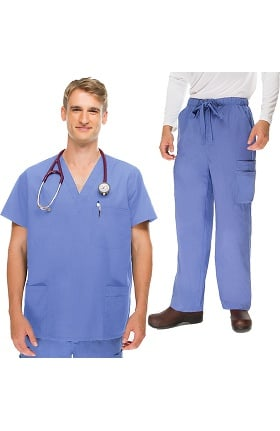 Classics by allheart Men's 5 Pocket Scrub Top & Zip Fly Cargo Scrub Pant Set