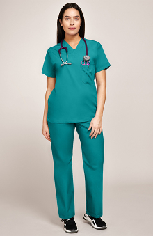 allheart Basics Women's 3 Pocket Scrub Top & Elastic Waist Scrub Pant Set