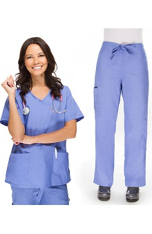 allheart Basics Women's Mock Wrap Scrub Top & Cargo Scrub Pant Set