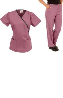 allheart Classics Women's Mock Wrap Scrub Top & Elastic Waist Scrub Pant Set