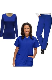 Basics by allheart Women's V-Neck Scrub Top, Elastic Waist Scrub Pant & Underscrub Set