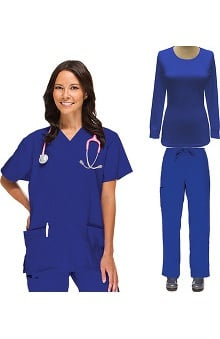 Basics by allheart Women's V-Neck Scrub Top, Drawstring Scrub Pant & Underscrub Set