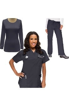 Classics by allheart Women's V-Neck Scrub Top, Drawstring Scrub Pant & Underscrub Set