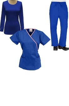 Classics by allheart Women's Mock Wrap Scrub Top, Drawstring Scrub Pant & Underscrub Set