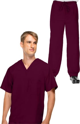 Basics by allheart Men's V-Neck Scrub Top & Drawstring Scrub Pant Set