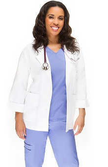 allheart Basics Women's Embroidered Short 3/4 Sleeve Lab Coat