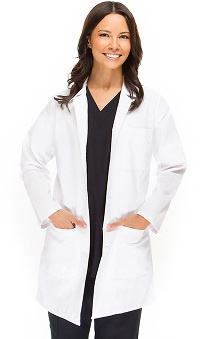 allheart Basics Women's Embroidered Mid Lab Coat