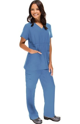 Stretch Luxe by allheart Women's Mock Wrap Scrub Set