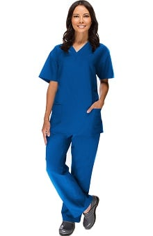 allheart Stretch Luxe Women's V-Neck Top & Flare Leg Pant Scrub Set