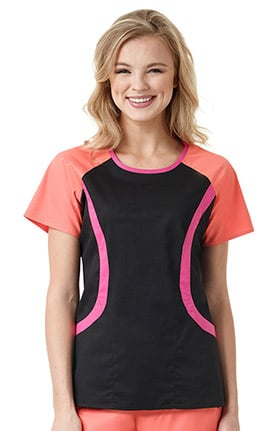 grace™ Exclusively at allheart Women's Round Neck Colorblock Solid Scrub Top