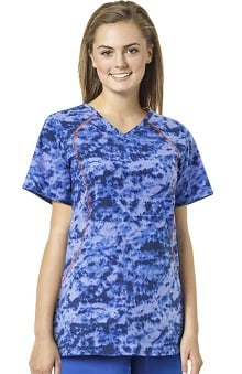 grace Exclusively at allheart Women's Sporty V-Neck Abstract Print Scrub Top