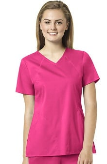 grace exclusively at allheart Women's Sporty V-Neck Solid Scrub Top | allheart.c