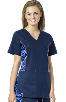 grace exclusively at allheart Women's Mock Wrap Abstract Print Side Scrub Top