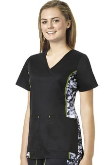 grace exclusively at allheart Women's Mock Wrap Abstract Print Side Scrub Top |