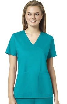 grace Exclusively at allheart Women's Tossed Pocket Mock Wrap Solid Scrub Top