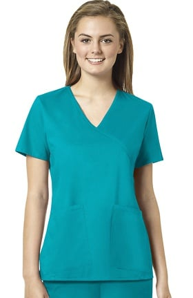 grace™ Exclusively at allheart Women's Mock Wrap Tossed Pocket Solid Scrub Top