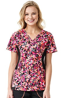 7f6aa6a85d6 Clearance grace™ Exclusively at allheart Women's Mock Wrap Solid Side  Abstract Print Scrub Top