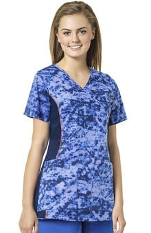 grace exclusively at allheart Women's Solid Side Panel Mock Wrap Scrub Top | all
