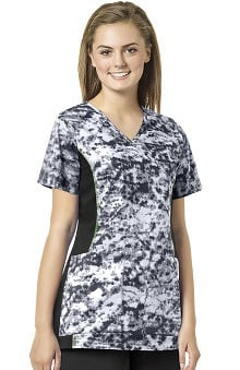 grace Exclusively at allheart Women's Abstract Print Mock Wrap Scrub Top