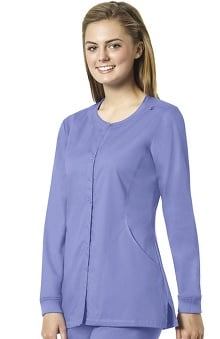 grace exclusively at allheart Women's Snap Front Warm Up Solid Scrub Jacket | al