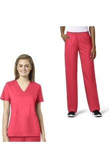 grace Exclusively at allheart Women's Mock Wrap Solid Scrub Top & Boot Cut Scrub Pant Set