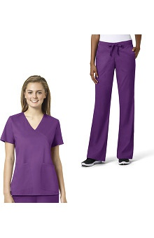 grace™ exclusively at allheart Women's Mock Wrap Scrub Top & Flare Leg Scrub Pant Set