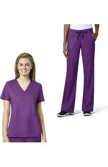 grace Exclusively at allheart Women's Mock Wrap Solid Scrub Top & Flare Leg Scrub Pant Set
