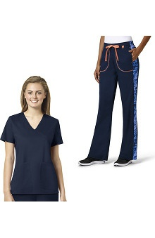 grace Exclusively at allheart Women's Mock Wrap Solid Scrub Top & Flare Leg Printed Side Scrub Pant Set