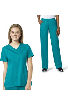 grace Exclusively at allheart Women's Sporty V-Neck Solid Scrub Top & Boot Cut Scrub Pant Set