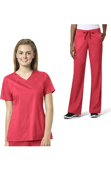 grace Exclusively at allheart Women's Sporty V-Neck Solid Scrub Top & Flare Leg Scrub Pant Set