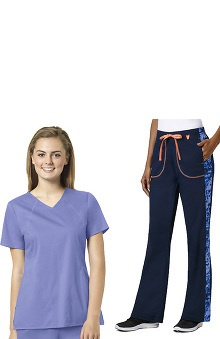 grace™ exclusively at allheart Women's Sporty V-Neck Scrub Top & Flare Leg Scrub Pant Set