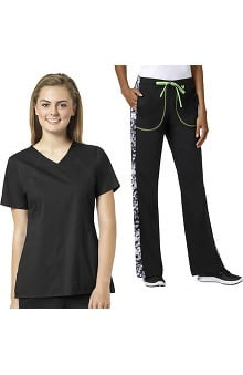 grace Exclusively at allheart Women's Sporty V-Neck Solid Scrub Top & Flare Leg Printed Side Scrub Pant Set