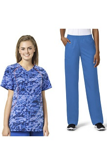 grace™ exclusively at allheart Women's Infrared Sporty V-Neck Scrub Top & Boot Cut Scrub Pant Set